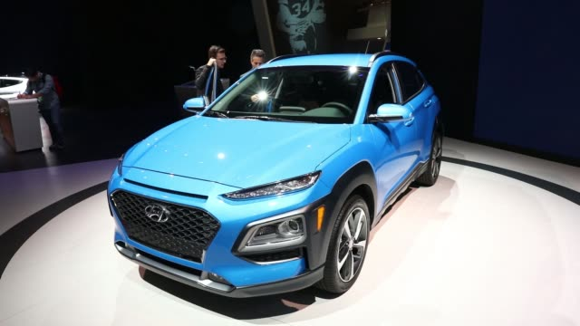 The Hyundai Motor Co Kona compact crossover vehicle is displayed during AutoMobility LA ahead of the Los Angeles Auto Show in Los Angeles California...