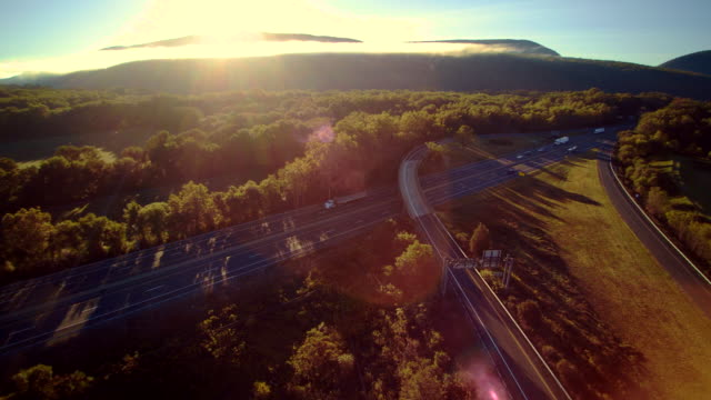 the i-80 columbus highway near by delaware water gap, at the border between new jersey and pennsylvania. aerial drone video footage. - appalachia stock videos & royalty-free footage