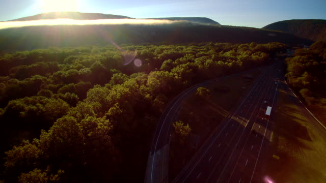 the i-80 columbus highway near by delaware water gap, at the border between new jersey and pennsylvania. aerial drone video footage. - ridge stock videos & royalty-free footage