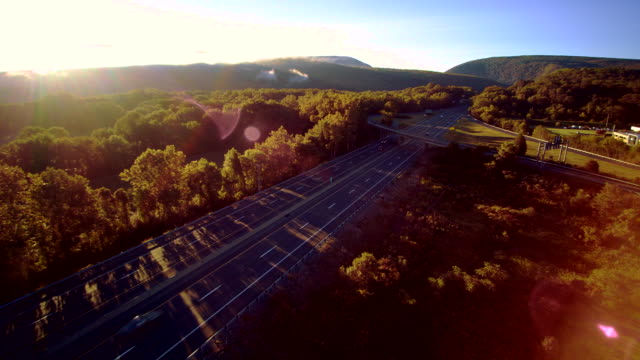 The I-80 Columbus highway near by Delaware Water Gap, at the border between New Jersey and Pennsylvania. Aerial drone video footage.