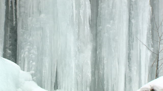 The ice pillars  of Yukawa Gorge.