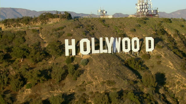 the iconic hollywood sign in los angeles - hollywood los angeles video stock e b–roll