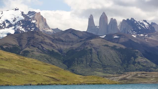 the iconic paine towers in torres del paine national park, patagonia, chile from laguna azul. - azul stock videos & royalty-free footage