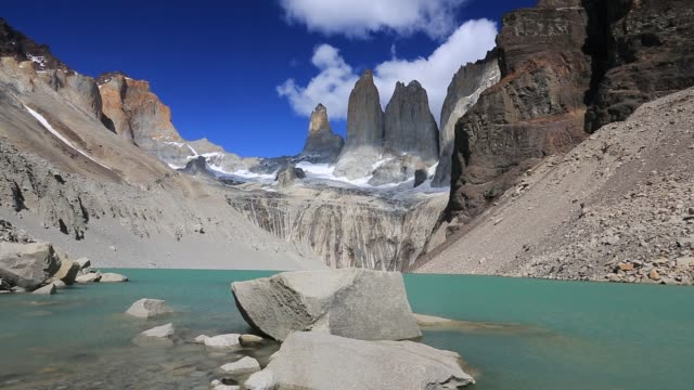 the iconic paine towers in torres del paine national park, patagonia, chile. - eroded stock videos & royalty-free footage
