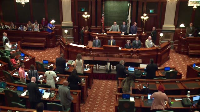 wgn the illinois house voted 7142 to override governor bruce rauner's veto of a budget plan after a hazmat situation forced a lockdown on july 6 2017... - house of representatives stock videos & royalty-free footage
