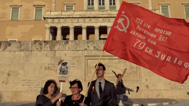 the immortal regiment march in commemoration of soviet soldiers who died in combat during world war two was held in central athens on tuesday evening... - unknown russian soldier stock videos & royalty-free footage