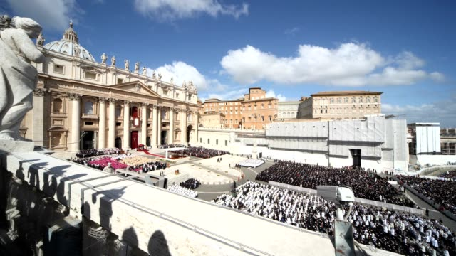 the inauguration mass for pope francis at st. peter's square on march 19, 2013 in vatican city, vatican. - religious mass stock videos & royalty-free footage