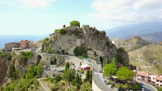The incredible view of the cliff top town of Castelmola town in Sicily, Italy