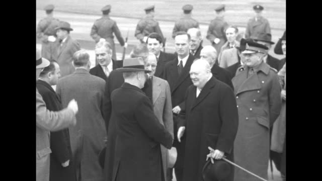 MS The Independence carrying British Prime Minister Winston Churchill lands at Washington National Airport / US President Harry S Truman and...