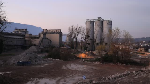 the industrial site of the former 'chiron' cement factory stands abandoned on november 22, 2020 in chambery, france. france is the country of the... - 有害廃棄物点の映像素材/bロール
