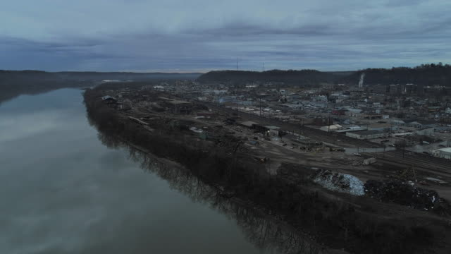 the industrial zone in ashland, the small town at the border between kentucky and ohio, usa. aerial drone video with the forward camera motion. - west virginia us state stock videos & royalty-free footage