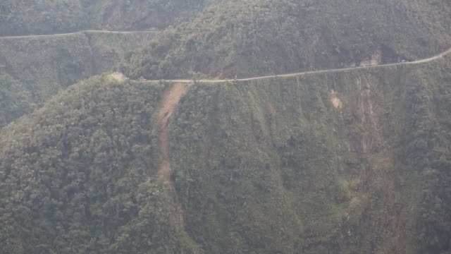 the infamous death road, near la paz in bolivia - bolivia stock videos & royalty-free footage
