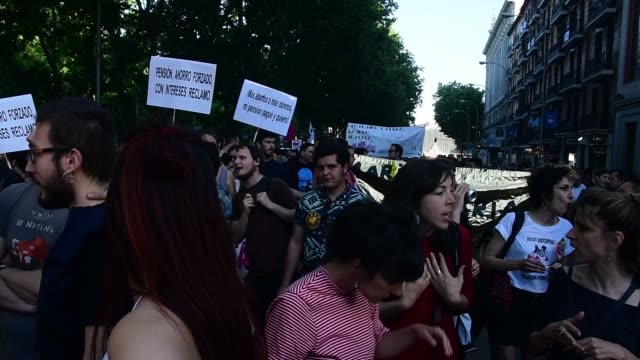 the ingobernable squatted space and social movement calls a demonstration against government of madrid two weeks before the elections, in madrid,... - may stock videos & royalty-free footage