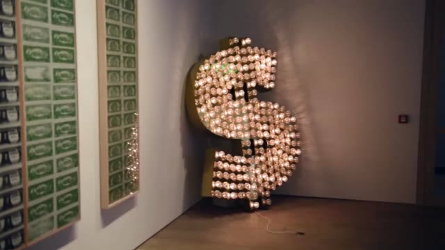 the installation '$ 2001' by tim noble and sue webster's which is going on show at sotheby's with and estimated value of £10000150 on june 8 2015 in... - サザビーズ点の映像素材/bロール