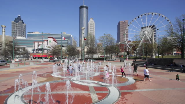 stockvideo's en b-roll-footage met the interactive fountain of rings water display at centennial olympic park in atlanta, georgia, united states of america - georgia us state