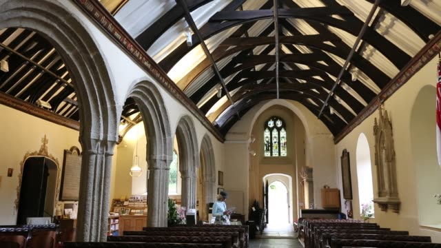 the interior of cornwall's famous st just in roseland church in cornwall, united kingdom on august 20, 2015. - bench stock videos & royalty-free footage
