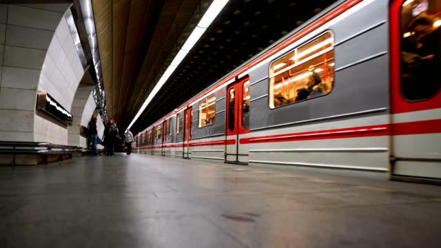 "the interior of subway station ""staromestska"". prague, czech - prague stock videos & royalty-free footage"