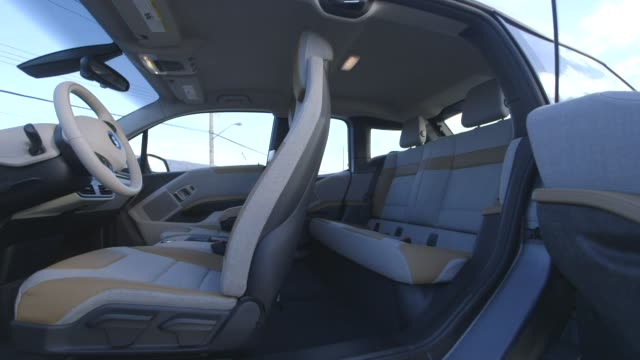 The interior of the BMW i3 in New York City New York on March 17th 2015 Shots Exterior wide shots of the interior of the car seen through the opened...