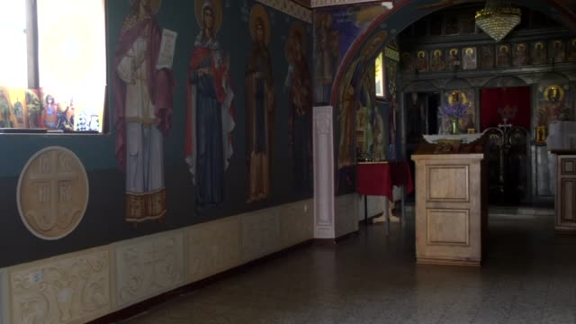 stockvideo's en b-roll-footage met the interior of the church of st. nicholas, gotovuša, kosovo - kathedraal