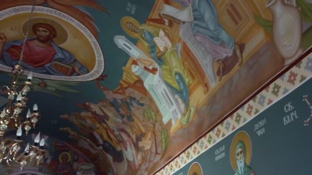 the interior of the church of st. nicholas, gotovuša, kosovo - basilika katedral bildbanksvideor och videomaterial från bakom kulisserna