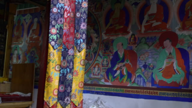 the interior of the main prayer room of the samstanling monastery, nubra valley, ladakh, india - female likeness stock videos & royalty-free footage