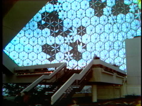 the interior of the montreal biosphere features statues, fountains and a park-like atmosphere. - music or celebrities or fashion or film industry or film premiere or youth culture or novelty item or vacations stock videos & royalty-free footage