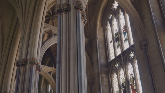 the interior of the norman / gothic architecture of the 12th century bristol cathedral, bristol, england, united kingdom. - arch stock videos & royalty-free footage