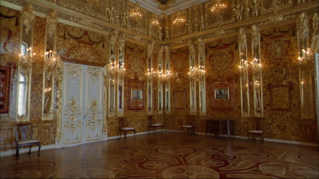 The interior of the Peterhof shows baroque opulence.