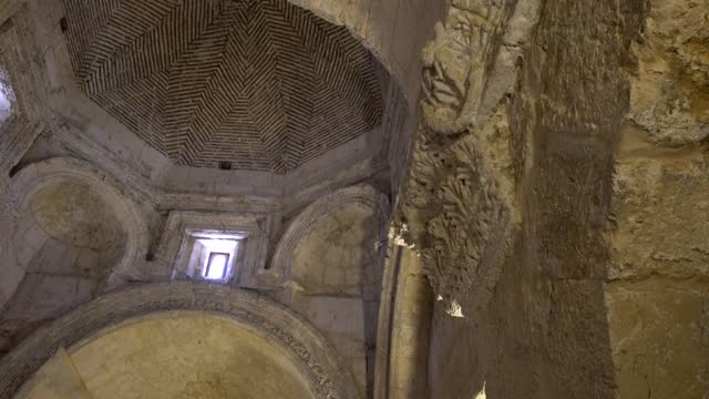 the interior of the sixth-century church of the virgin mary in anitli, southeast turkey on may 18, 2021. the church of the virgin mary probably dates... - copy space stock videos & royalty-free footage