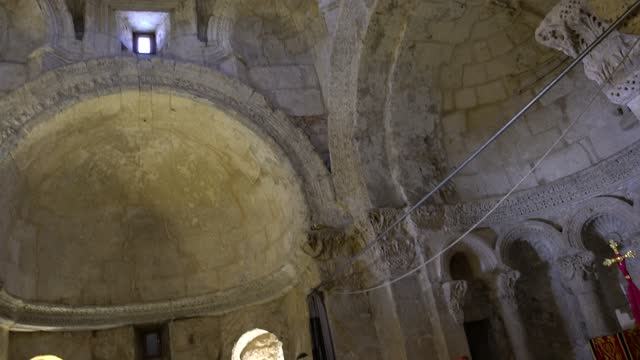 the interior of the sixth-century syriac church of the virgin mary in anitli, southeast turkey on may 18, 2021. the church of the virgin mary... - copy space stock videos & royalty-free footage