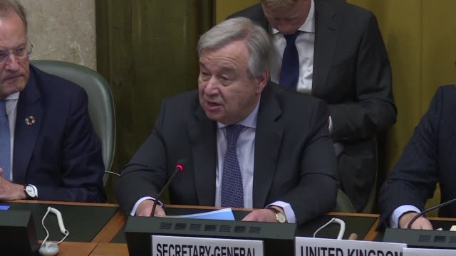 the international arms control system is facing collapse the united nations chief antonio guterres says in geneva hoping however that us president... - verification stock videos & royalty-free footage