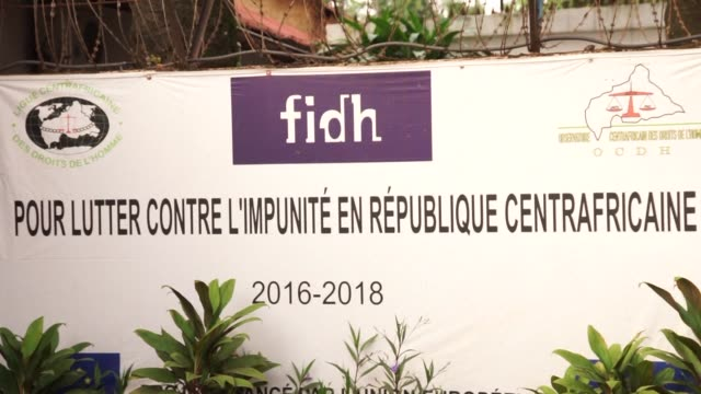 the international federation of human rights watchdog in bangui reacts after central african republic lawmaker and former militia leader alfred... - human face video stock e b–roll