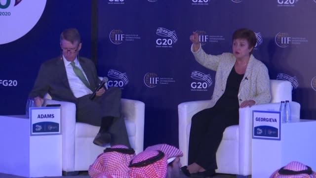 stockvideo's en b-roll-footage met the international monetary fund imf chief kristalina georgieva mentions that the economic impact of the covid 19 epidemic could see a v shaped... - vermindering