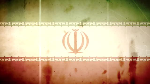 vídeos de stock e filmes b-roll de a bandeira do irão-grunge retro ansa de filme - fuga de luz