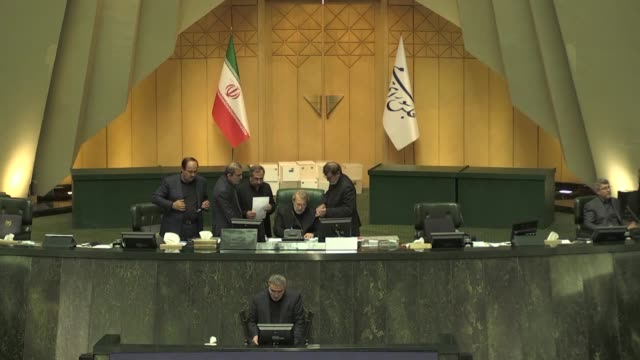 the iranian majlis on sunday reelected speaker ali larijani to remain in his post for a new term according to the official irna news agency larijani... - palazzo governativo video stock e b–roll