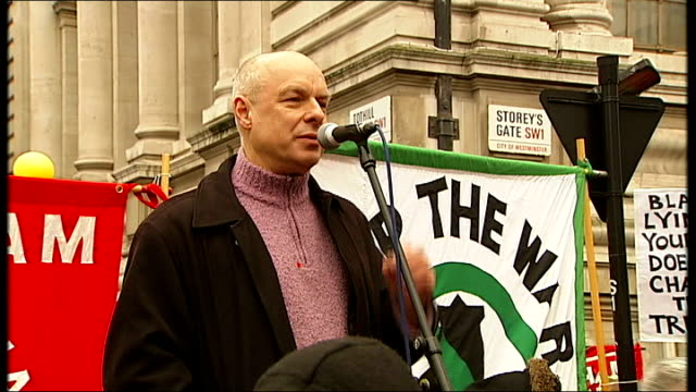 Demonstrations as Tony Blair testifies at Chilcot Inquiry Brian Eno speech SOT