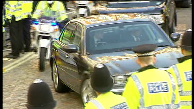 Gordon Brown gives evidence arrival ENGLAND London Westminster Queen Elizabeth II Conference Centre EXT Car arriving / Back view Gordon Brown MP...