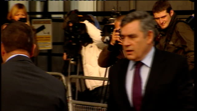 gordon brown gives evidence departure england london westminster queen elizabeth ii conference centre ext gordon brown mp departs shaking hands with... - gordon brown stock videos & royalty-free footage