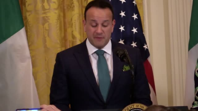 the irish premier has told us president donald trump that he can see the results of his ambitions to make america great again speaking at the... - leo varadkar stock videos and b-roll footage