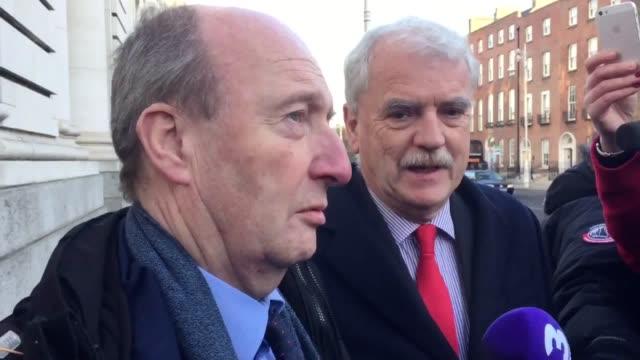 The Irish transport minister Shane Ross and junior minister Finian McGrath discuss the Irish Government crisis ahead of talks between Taoiseach Leo...