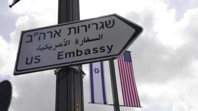 "the israeli authorities on monday began placing signs bearing the words ""u.s. embassy"" on the streets of jerusalem amid preparations for the new... - jerusalem stock videos & royalty-free footage"