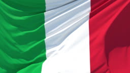 The italian flag fluttering in the wind