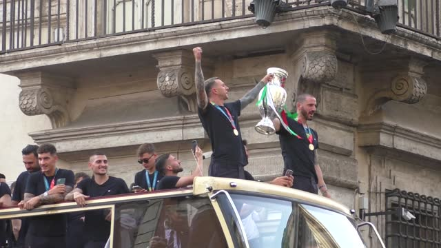 the italian national football team celebrated the euro 2020 victory with fans in the streets of rome, italy on july 12, 2021. football players... - convertible stock videos & royalty-free footage