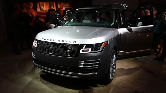 the jaguar land rover automotive plc 2018 range rover svautobiography sports utility vehicle is displayed during a jaguar land rover automotive plc... - sports poster stock videos & royalty-free footage