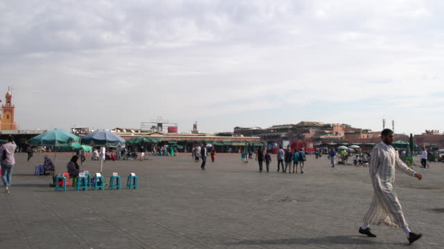 The Jamaa el Fna square in Marrakech early in the morning