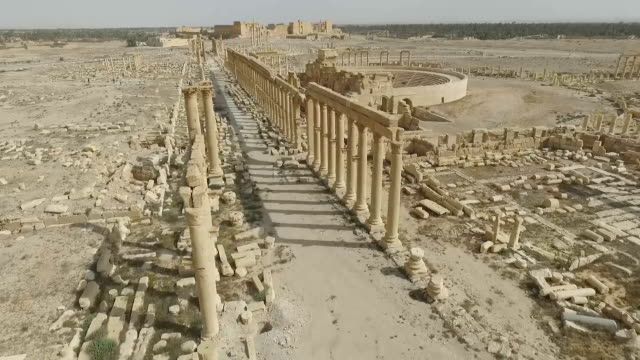 The Japanese media got its first onhand glimpse of the damage done to the ancient ruins in Palmyra Syria since the city was liberated from the...
