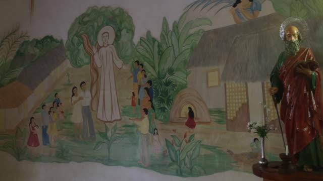 the jesuit reduction in san pablo de guarayos, bolivia - weibliche figur stock-videos und b-roll-filmmaterial