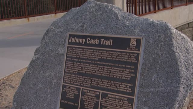 """the johnny cash trail skirts the folsom state prison, which cash sang about in his well-known 1955 song """"folsom prison blues."""" the trail—formerly... - johnny cash stock videos & royalty-free footage"""