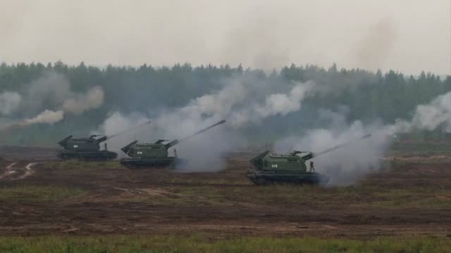the joint russianbelarus military exercises zapad2017 which have alarmed neighbouring countries as well as nato continue in the minsk region of... - belarus stock videos & royalty-free footage