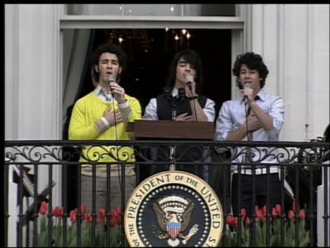 the jonas brothers sing the united states national anthem at the white house. - music or celebrities or fashion or film industry or film premiere or youth culture or novelty item or vacations stock videos & royalty-free footage